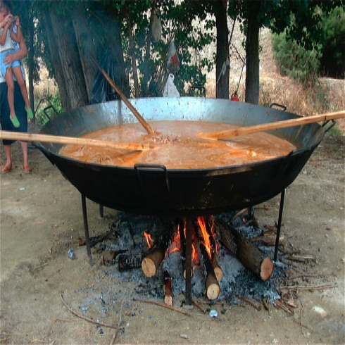 A village Paella party at Fiesta time